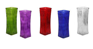 "Mixed Color Square Blue Green Red Purple white Tapered Ribbed Vases 8½"" set of 5"