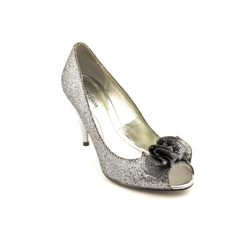 Style & Co Flores Open Womens Pewter Silver Leather Open Flores Toe Pumps Heels Shoes 5.5 63e9ab