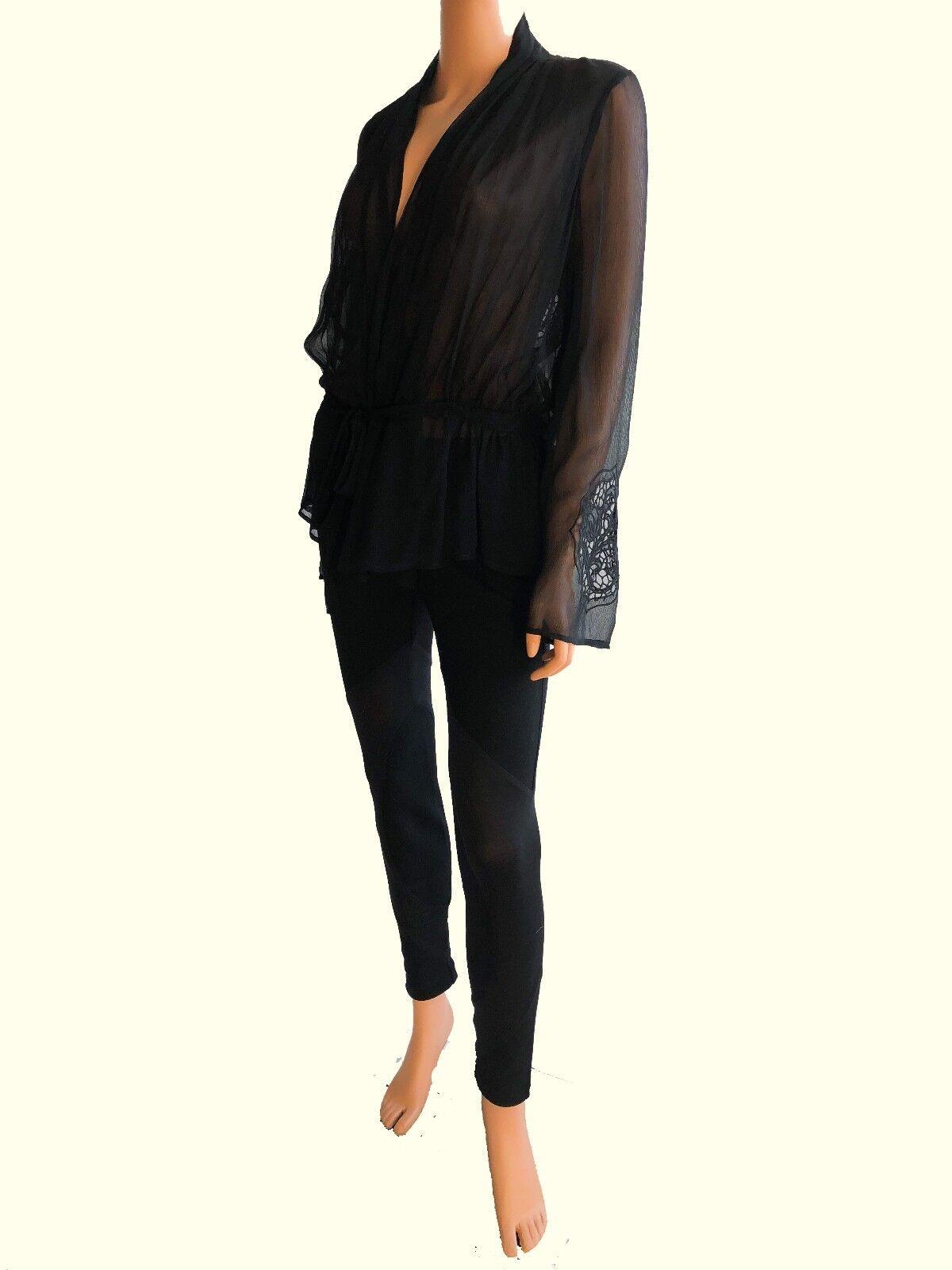 Haute Hippie Long Sleeve schwarz Silk  Blouse With a Belt Größe S