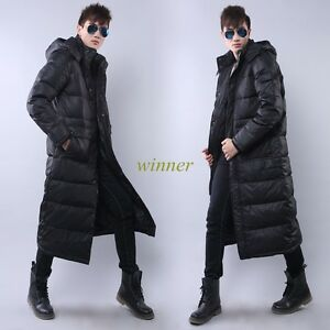 Mens Winter Coats Hooded X-long Mid-calf Length Duck Down Jackets ...
