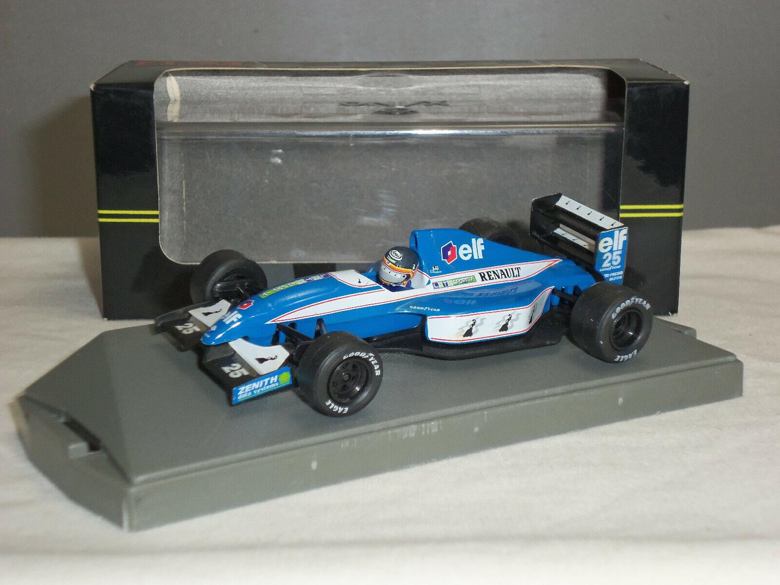 Onyx 135 LIGIER RENAULT JS 37 Thierry Boutsen Diecast Modèle Bleu F1 voiture de course