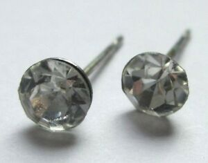 Boucles D'oreilles Clou Couleur Argent Cristal Diamant Solitaire Bijou 2362