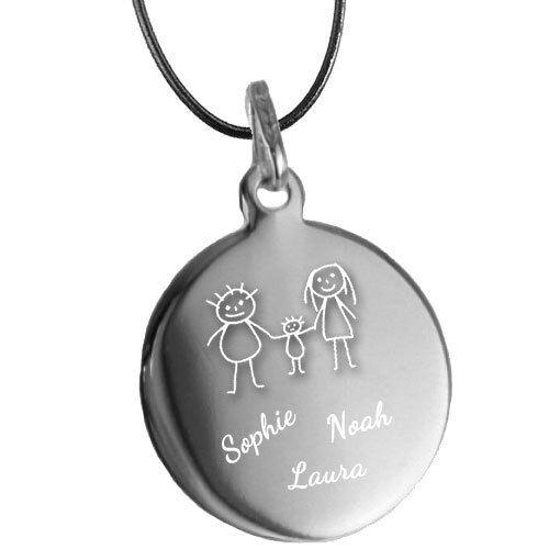 Echt Silber eine Geschenk-Idee für die Familie Gravur Anhänger mit Kette Neu