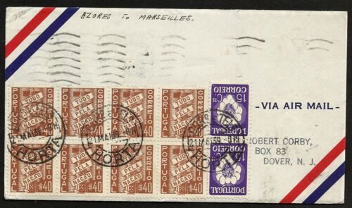 PORTUGAL AZORES MARSEILLES cover 1939 1st flight - VF