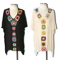 La Playa Boho Hand Crochet Granny Square Beach Kaftan Tunic Top Cream Black S-1x