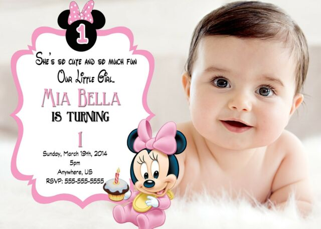Baby Minnie Mouse 1st Birthday Invitations Print your own Minnie Party Supplies