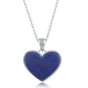 Sterling Silver Lapis Heart Pendant