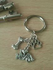 I love my Dog with paw print and bone Keyring. Male or Female. Gift