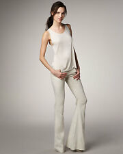 Theyskens' theory Bootleg Kick Flare Linen Pants Jean White Ecru W24 L30 UK 6