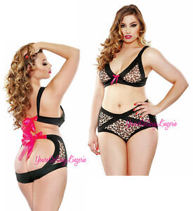 39233d057 PLUS SIZE Cut-Out BRA   High Waist OPEN BACK PANTY RETRO Leopard ...