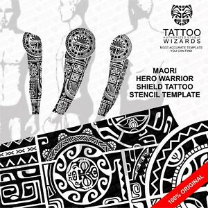 maori polynesian hero warrior shield tattoo stencil template ebay