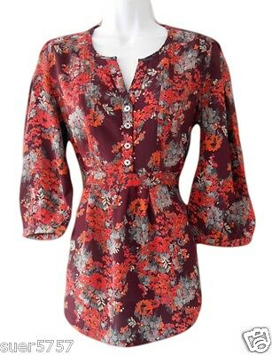 NEW Ladies Monsoon Red Floral 3/4 Sleeve Casual Viscose Top Size 10 - 22