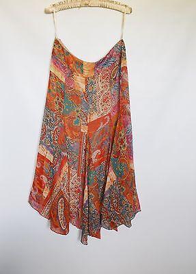 NWOT LAUREN Ralph Lauren Pure Silk Asymmetrical Hem Womens Paisley Skirt Size 10