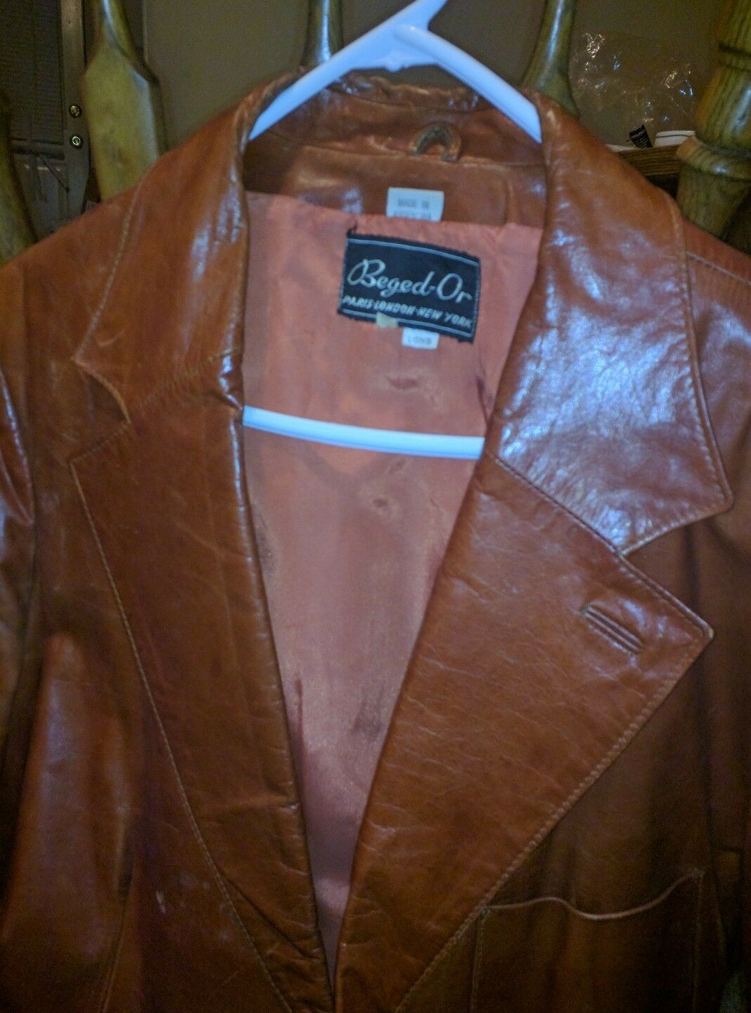 BEGED-OR Paris London New York Camel Tan Leather Blazer Size46 made in silverina