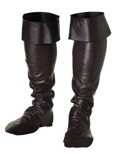 SURBOTTES-Noires-Pirate-Mousquetaire-Deguisement-Homme-NEUF-pas-cher