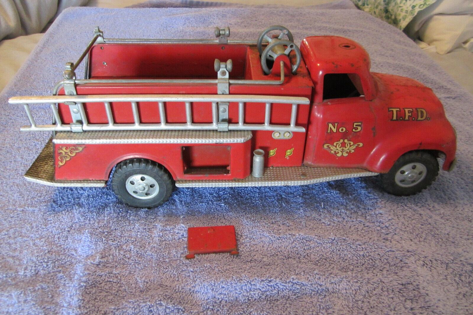 Vintage 1950 S Tonka la voiture de pompiers avec échelle et six roues