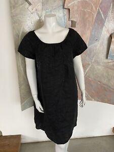 J-Jill-Black-Linen-Perforated-Knee-Length-Short-Sleeve-J-Jill-Dress-Size-Large