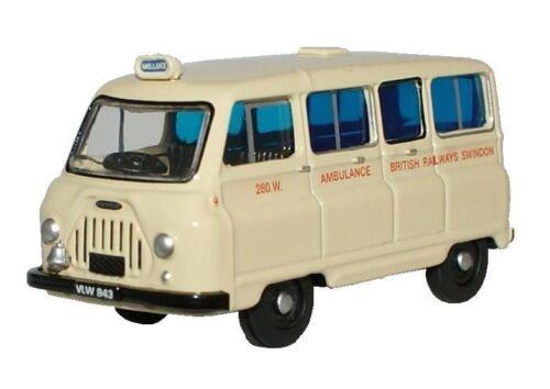 Spielzeugautos Oxford 76JM019 Morris J2 Britisch Eisenbahnen Krankenwagen Weiß 1/76 Neu T48