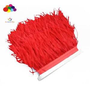 Hot-1-5-10-meters-red-Ostrich-Feathers-8-15cm-3-6-inch-Fringe-Ribbon-Trim-craft