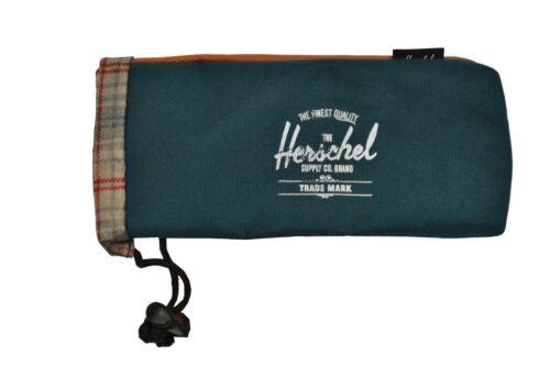 REPURPOSE POUCH Teal Rust Plaid Fleece Lined Sunglasses Case Herschel Supply Co