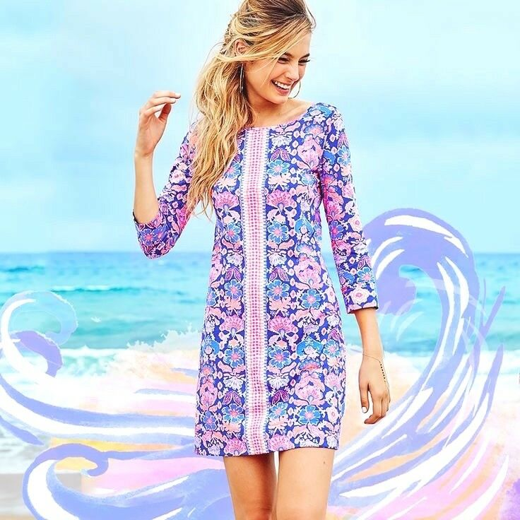 NWOT Lilly Pulitzer Marlowe Iris Blau Werk It Engineerot T-Shirt Style Dress  S
