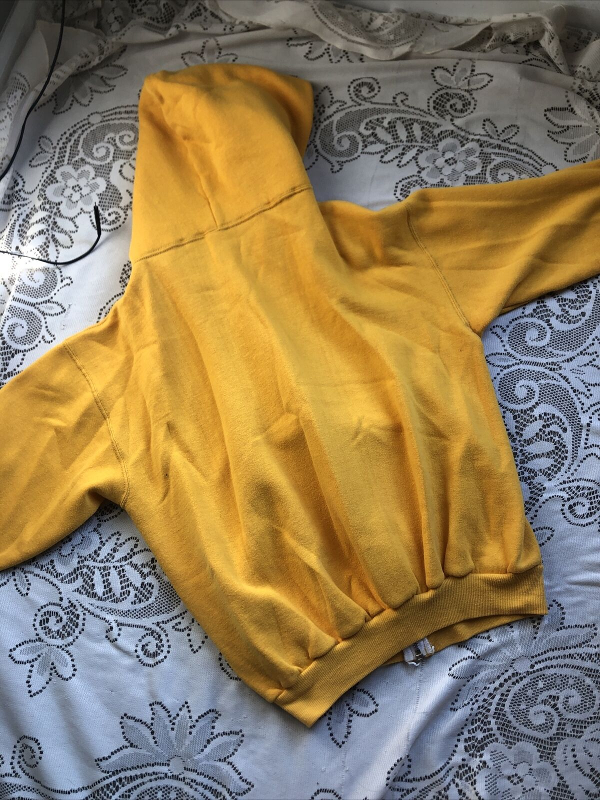 Vtg 70's 80's Russell Athletic Yellow Zip up Hood… - image 9