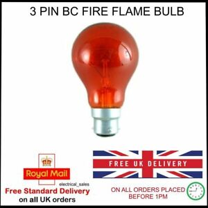 Crompton-3-Broche-BC-60mm-Diametre-Feu-Rouge-Flamme-Ampoule-60-Watts