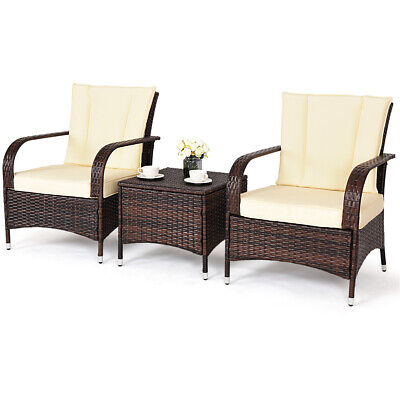 Phenomenal 3Pcs Outdoor Patio Beige Rattan Wicker Furniture Sofa Seat Cushioned Garden Set Caraccident5 Cool Chair Designs And Ideas Caraccident5Info