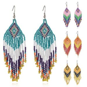 Women-Tassel-Dangle-Earrings-Long-Fringe-Seed-Beaded-Drop-Boho-Ethnic-Earring