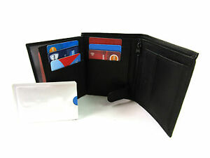 New-Quality-Soft-Black-Real-Leather-Wallet-TWO-FREE-RFID-CARD-PROTECT-SLEEVES