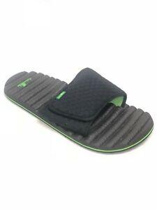 Sanuk-Men-039-s-Beer-Cozy-Hop-Slide-Sandals-Black-Green-Size-9-Slip-On-Yoga-Mat