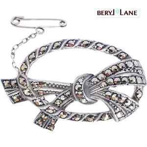 Vintage-c1950-Australian-Lega-Marcasite-Sterling-Silver-Brooch-Art-Deco-Style
