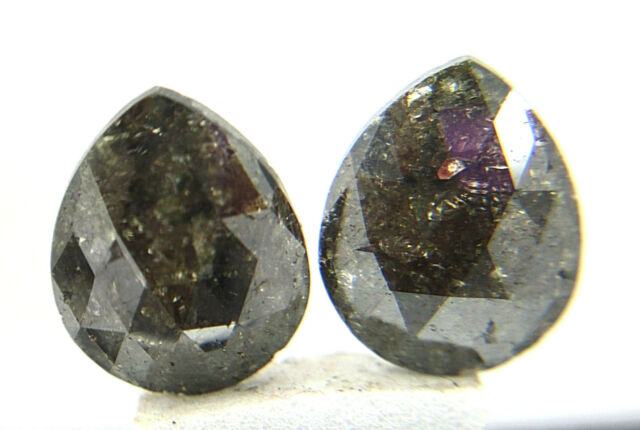 6.05Cts Natural Real Dark Brown Color Pear Shape Rose Cut Diamond Pair