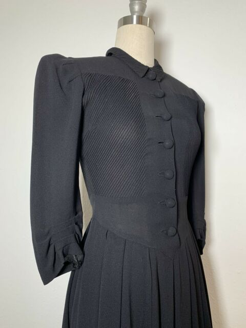 Vintage Late 1930s Early 1940's Black Crepe Rayon Dress with Diagonal Details