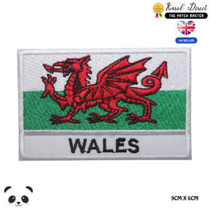Wales-National-Flag-With-Name-Embroidered-Iron-On-Sew-On-Patch-Badge