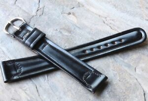 Long-Length-vintage-black-19mm-Shell-Cordovan-watch-strap-1950s-New-Old-Stock