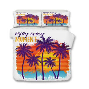 Tropical-Palm-Trees-Beach-Zigzags-Adult-Kids-Bedding-Duvet-Quilt-Cover-Set-Gift