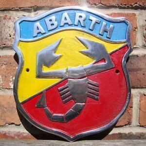 Plaques Abarth Signe En Aluminium Coulé Publicité Vintage Vitesse Fiat 500 Simca Lancia Automobilia
