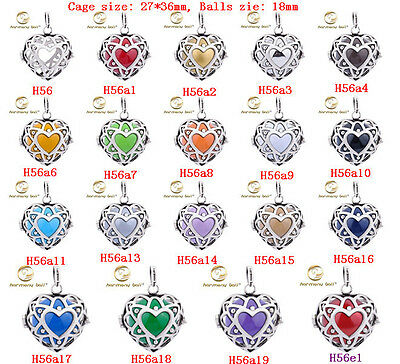 Silver Harmony Ball Heart Love Locket Pendant Chime Sounds angel Caller