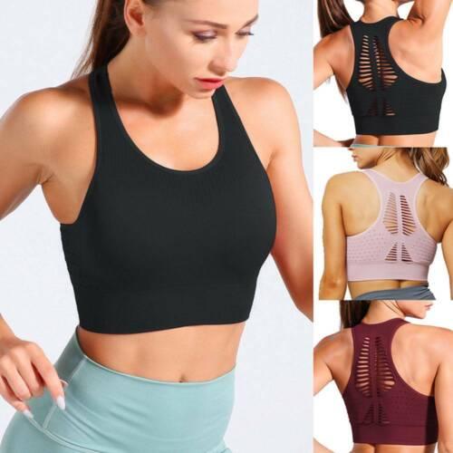 Womens Yoga Sports Bra Padded Seamless Crop Tops Workout Elastic Racerback Gym