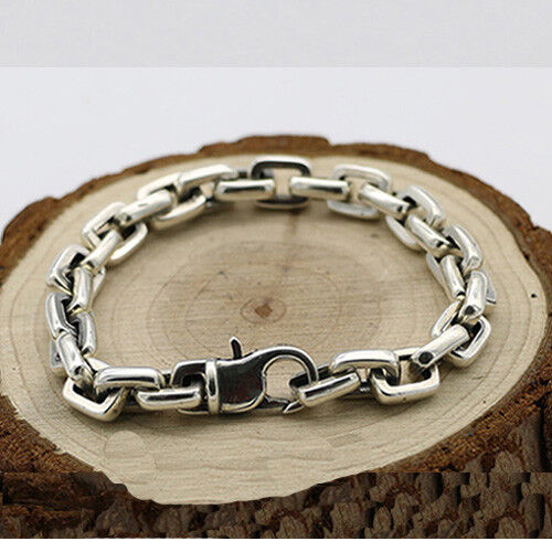 "8.7/"" Men's 925 Sterling Silver Bracelet  Link Classical Chain Loop Jewelry 6.3/"""