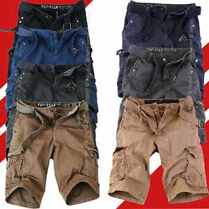 Bermuda-Uomo-Cargo-Pantaloni-Corti-Pantaloncini-Shorts-Tasche-Laterali-Tasconi