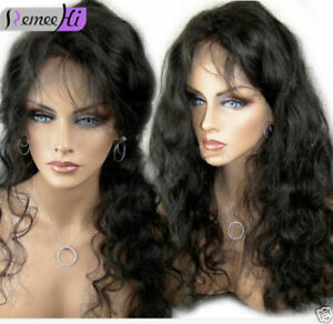 Virgin-Remy-Indian-Human-Hair-Body-Wave-Front-Full-Lace-Wig-12-034-24-034-Baby-Hair