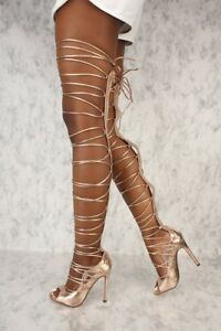 pick up wholesale where can i buy C & C Denise Sexy Rose Gold Strappy Tie Up Laces Gladiator Thigh ...