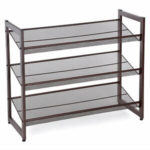 Etonnant Image Is Loading SONGMICS 3 Tier Stackable Metal Shoe Rack Flat