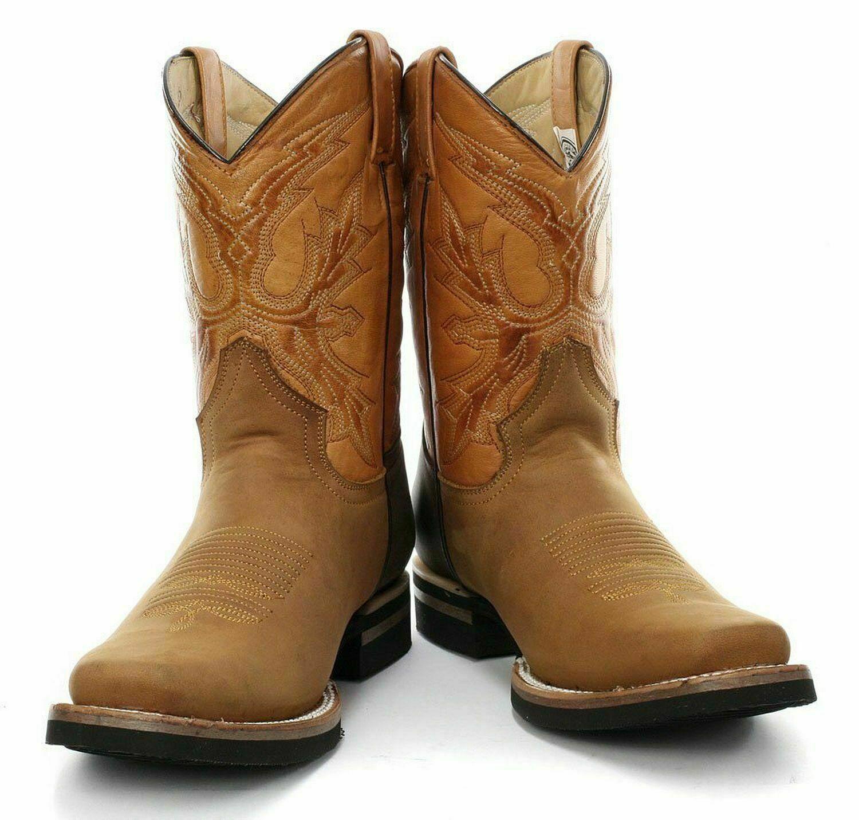 Grinders Mens Women El Paso Brown Tan Leather Cowboy Biker Mid calf Boots Shoes