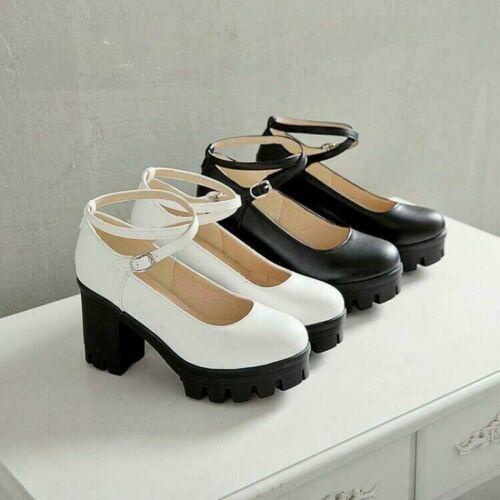 Women Punk Chunky Block Heel Round Toe Ankle Strap Platform Pump Shoes Mary Jane