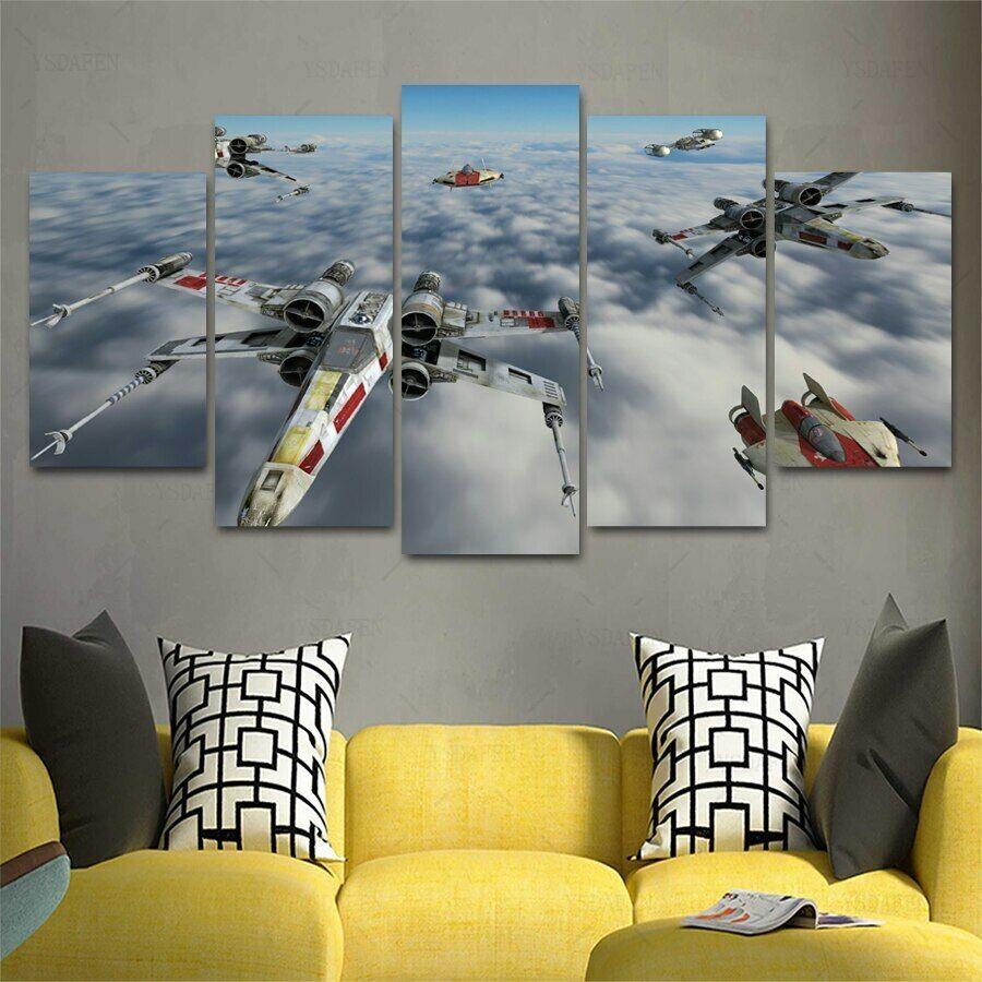 X-Wing Cloud City Star War Battle Five Piece Framed Canvas Home Decor Wall Art 5