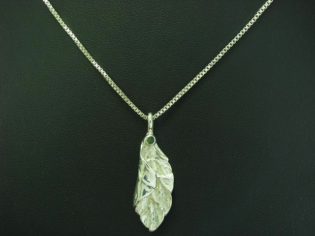 835 silver KETTE & 925 STERLING silver ANHÄNGER MIT GLAS BESATZ   BLATT   45,8cm