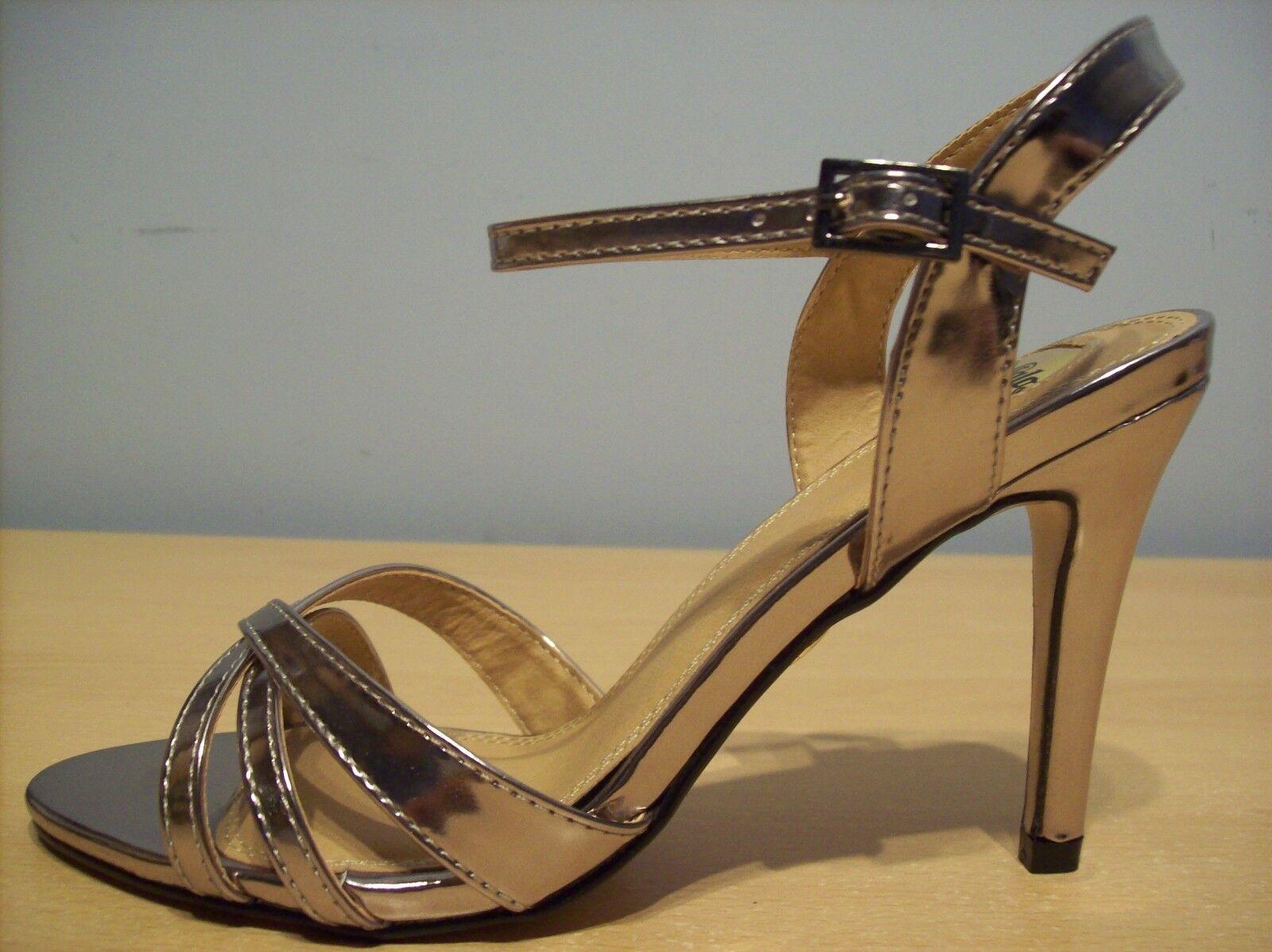 schuhe Buffalo 312703 312703 312703 High Cone Heel Sandals Silber Pewter Größe 6 New + Boxed 189b36